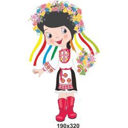 """Декоративный элемент для учебного заведения с подсолнухами """"Украиночка с венком"""""""