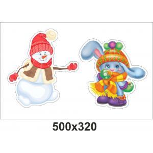 """Набор декоративных наклеек """"Снеговик и зайчик"""""""