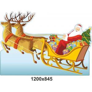 """Стенд-декорация """"Дедушка Мороз на санях с оленями"""""""