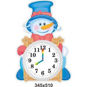 """Обучающий стенд """"Изучаем время"""", веселый снеговик"""