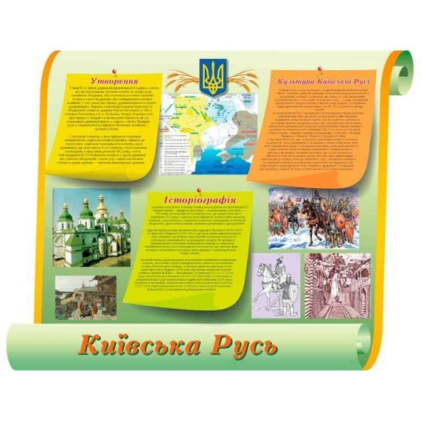 """Стенд по истории Украины """"Киевская Русь"""" зеленый."""