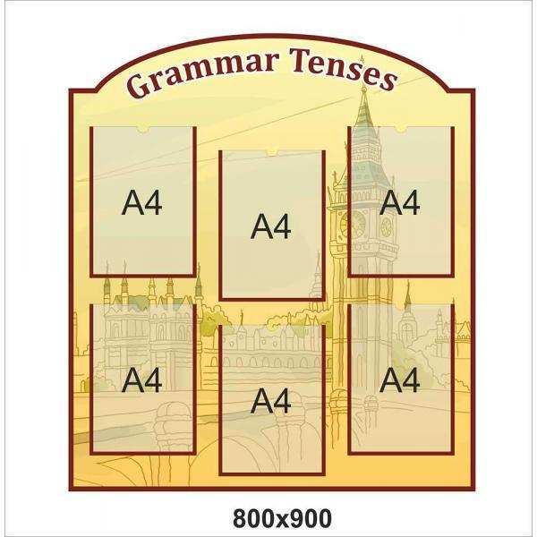 """Стенд с карманами """"Грамматика английский. Папирус"""""""