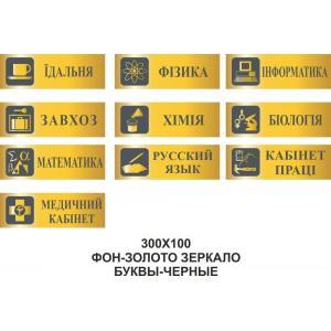"""Таблички на двери кабинетов """"Золотые"""""""
