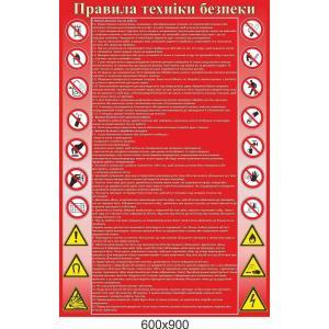 """Стенд """"Правила техники безопасности"""" красный"""